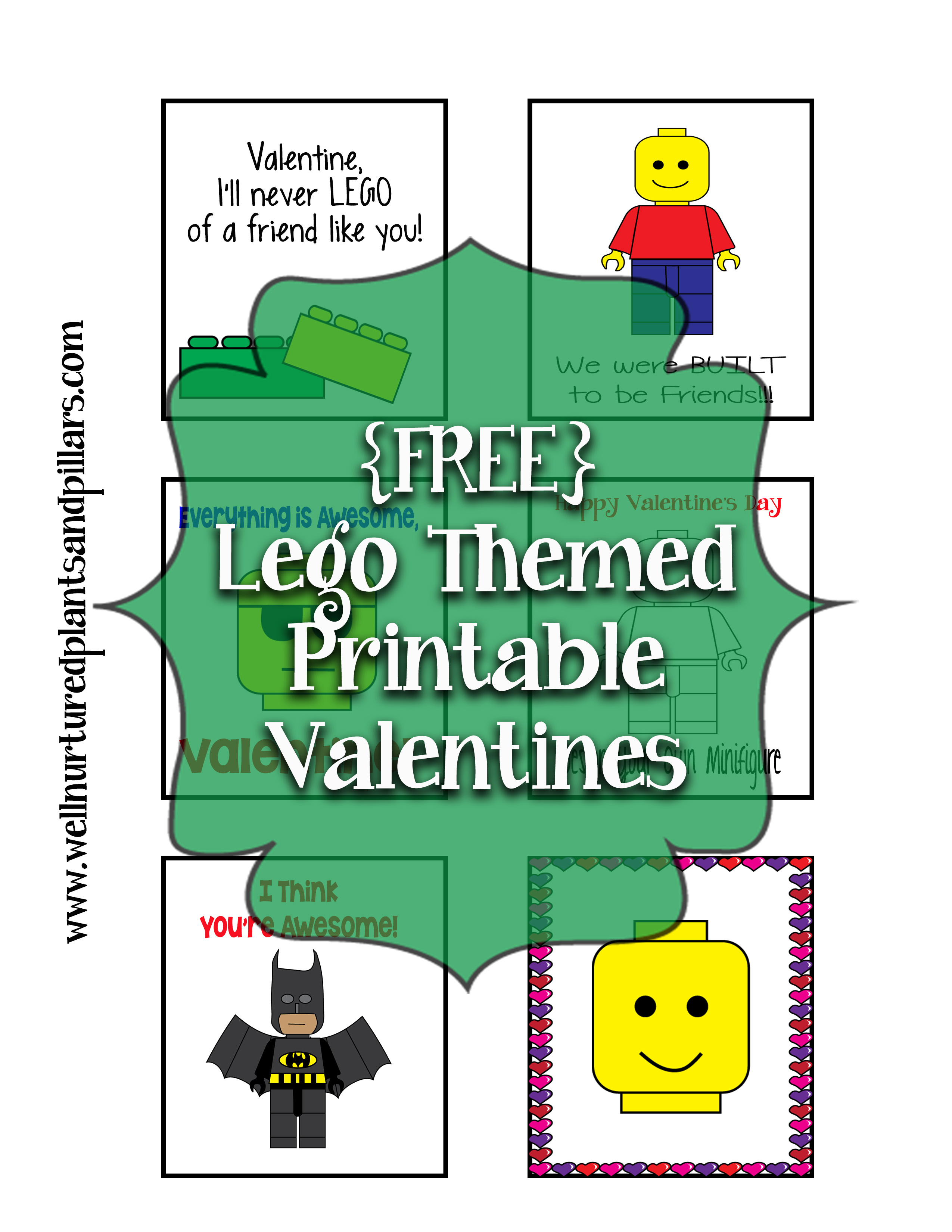 Free Lego Themed Printable Valentines Cards