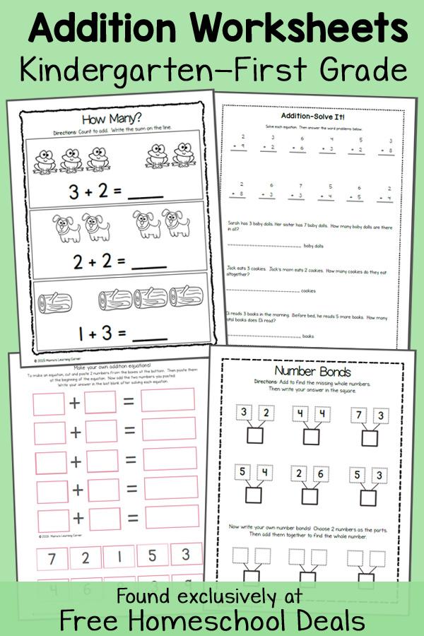 Addition Worksheets For Kindergarten And First Grade