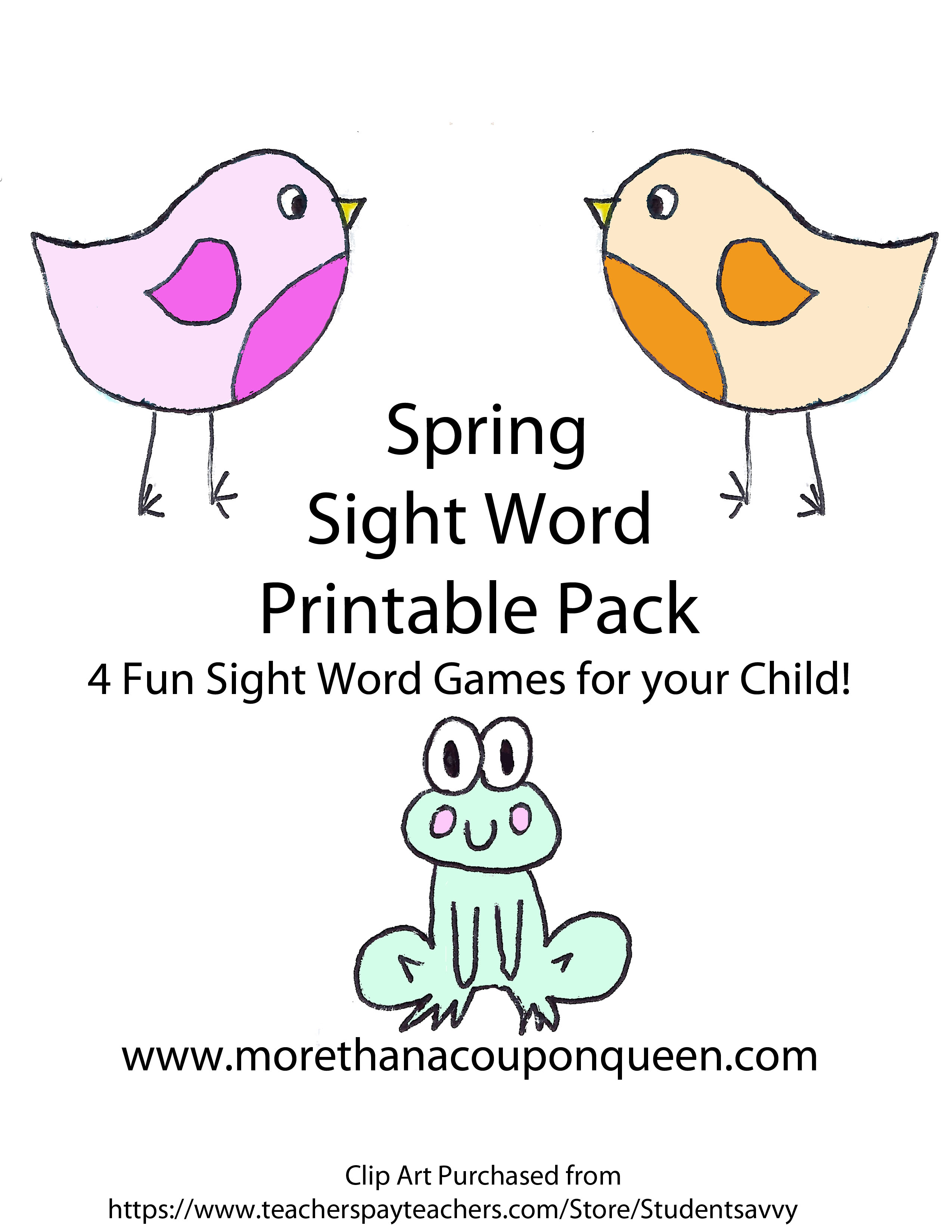 Free Spring Themed Sight Words Pack