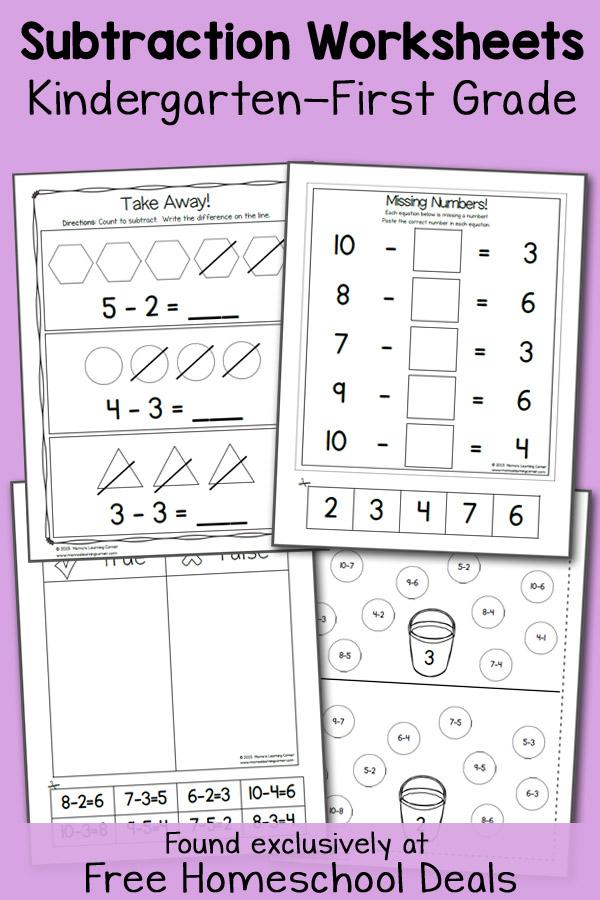 FREE K-1 SUBTRACTION WORKSHEETS (instant download) | Free Homeschool ...