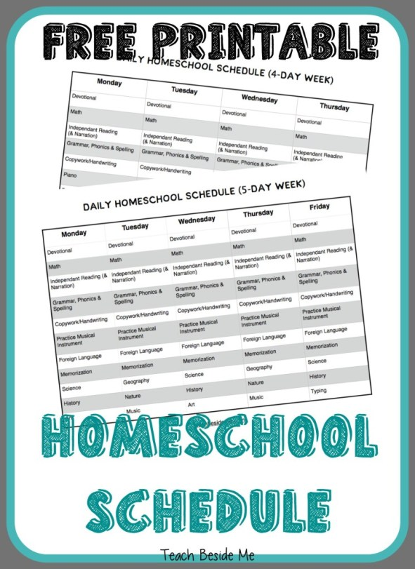 FREE Printable Homeschool Schedule