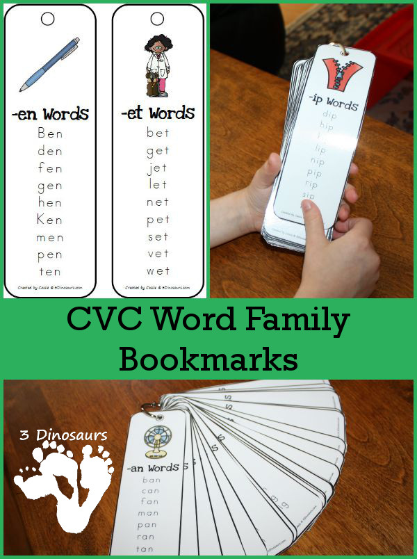 FREE CVC Word Family Bookmarks and Printables