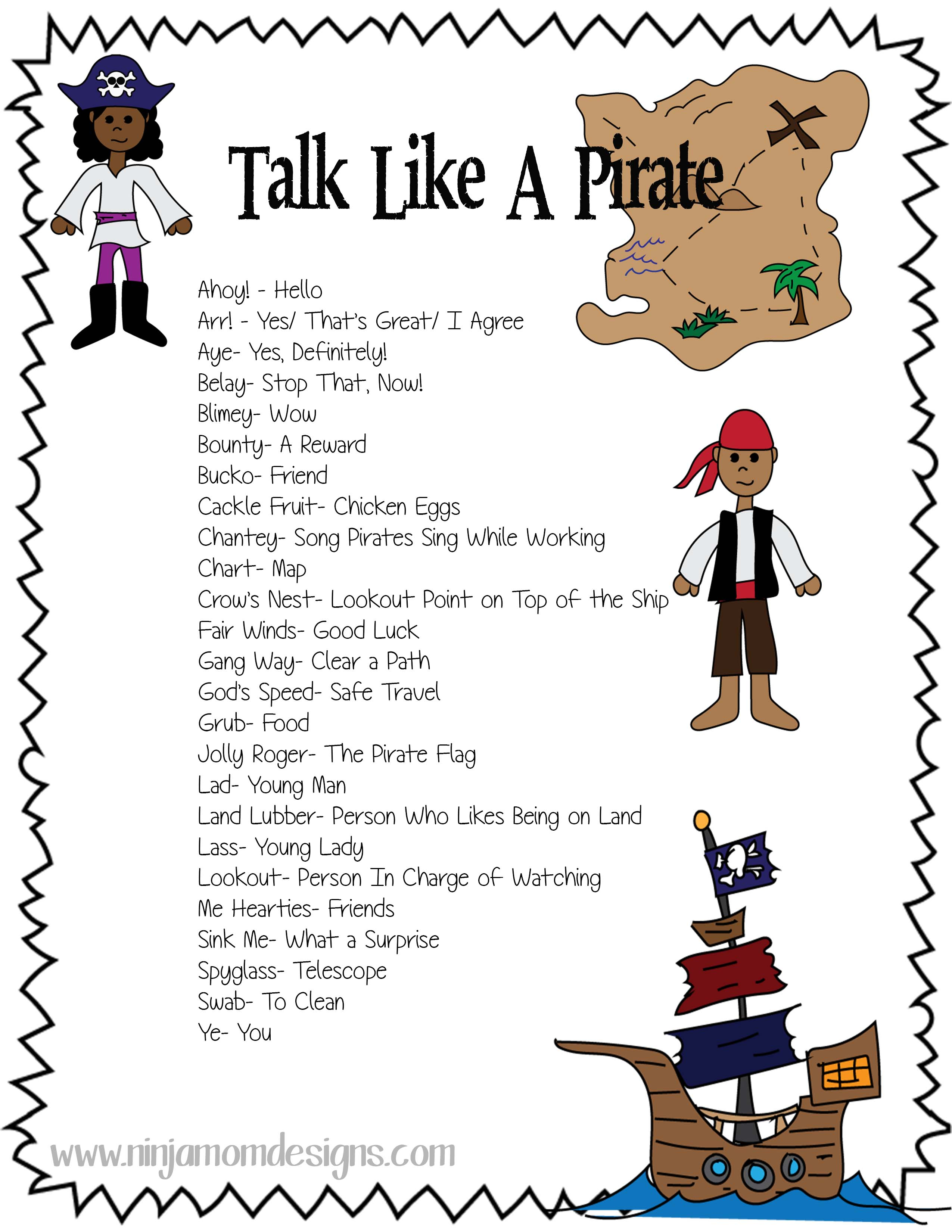 Free Talk Like A Pirate Sheet