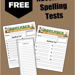 FREE November Spelling Tests