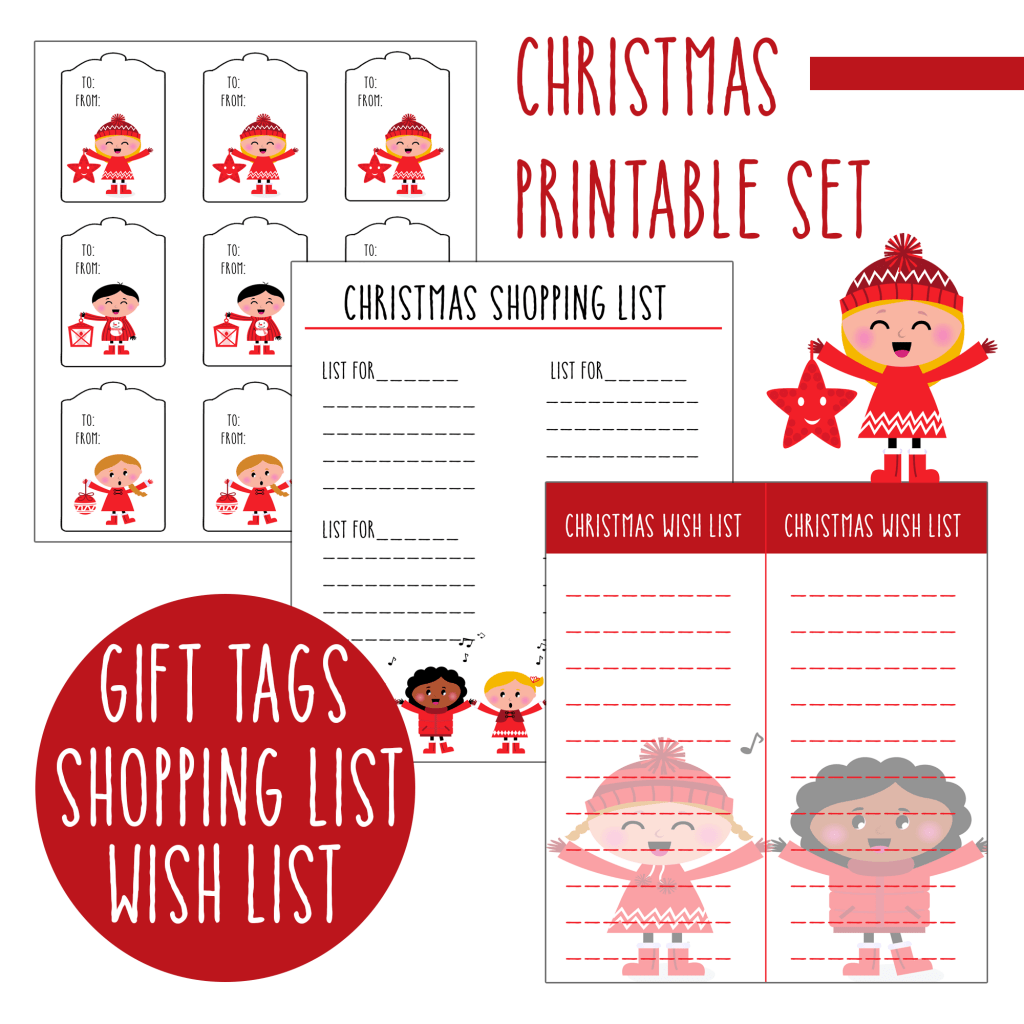Free Christmas Printable Set T Tags Wish Lists And