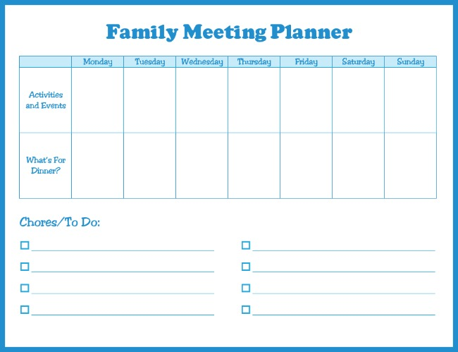 free family meeting planner