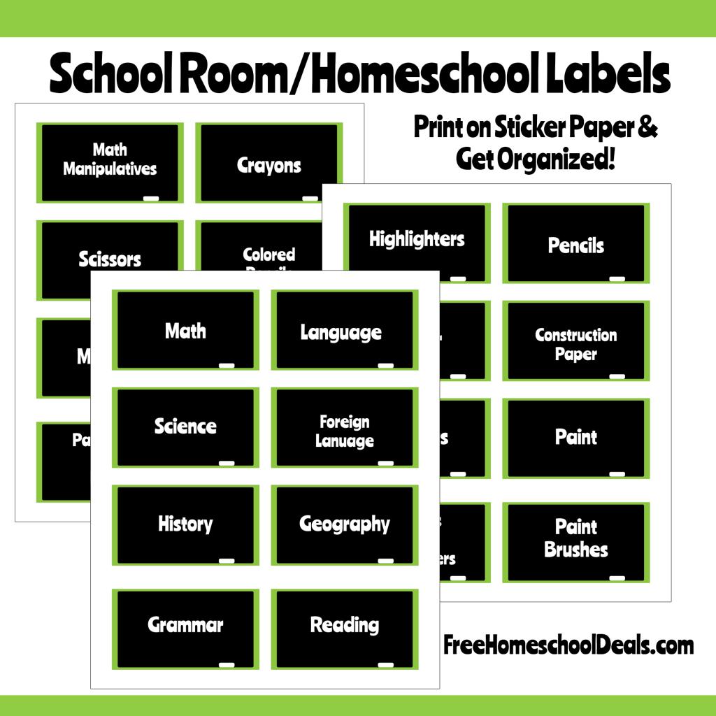 Chalkboard Style Homeschool Room Labels Instant Download
