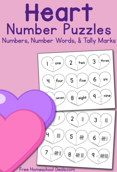 Valentine Number Puzzle Cards