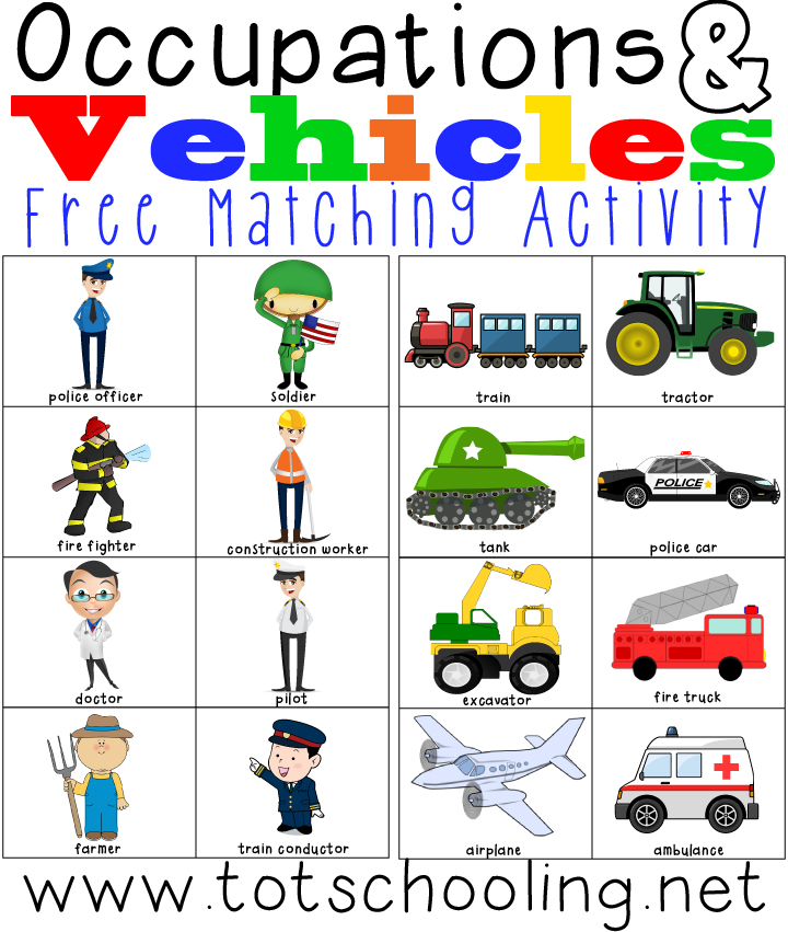 free occupations vehicles matching activity and printables free homeschool deals. Black Bedroom Furniture Sets. Home Design Ideas
