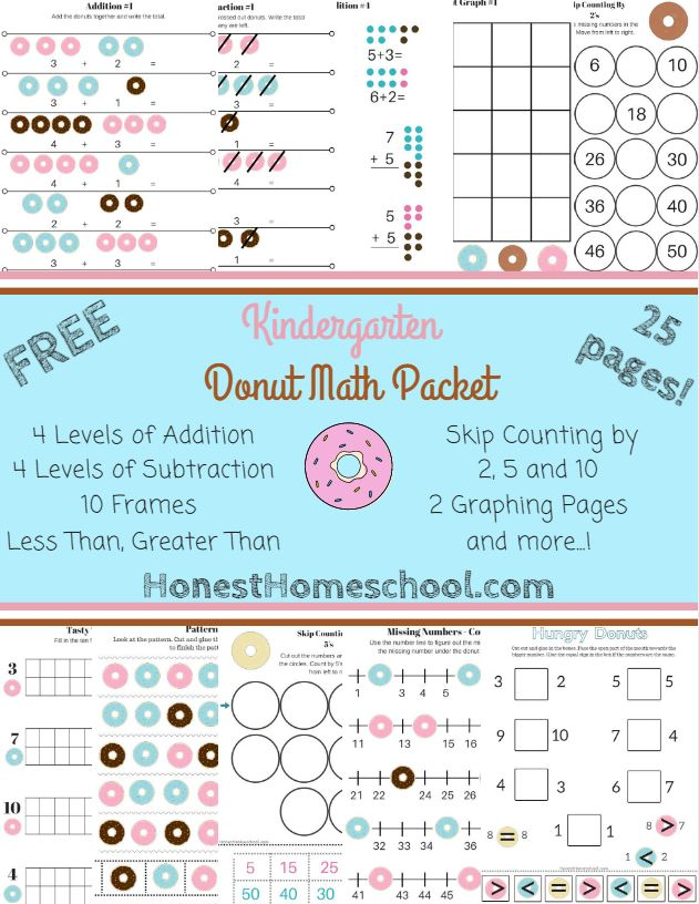 Free Donut Math Packet for Kindergarten (25 Pages!) | Free ...