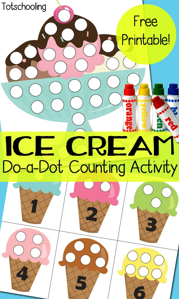 free ice cream themed dot marker pages free homeschool