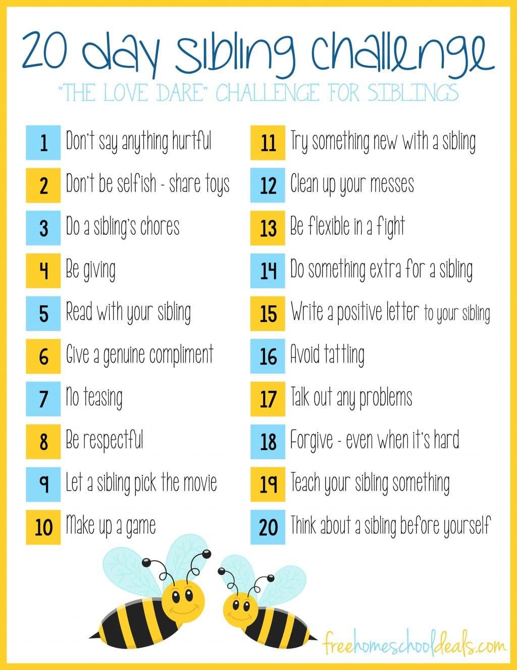 Free Printable 20 Day Sibling Challenge