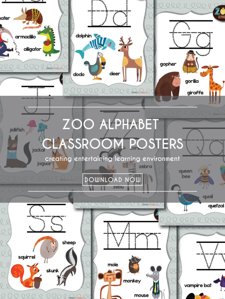 FREE Zoo Alphabet Classroom pack