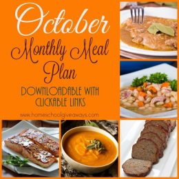 FREE October 2016 Monthly Meal Plan