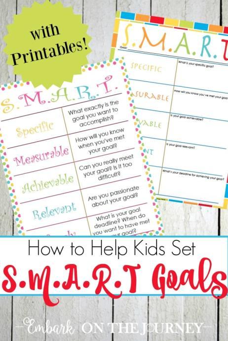 Free SMART Goal Printables for Kids