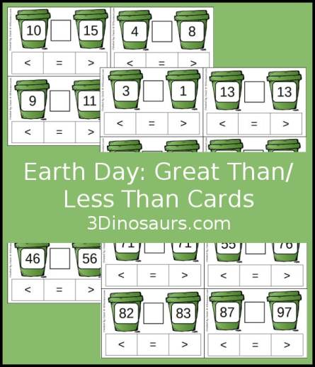 Free Earth Day Greater Than Less Than Clip Cards