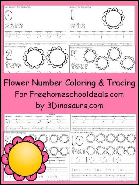 FREE FLOWER NUMBER COLOR & TRACE PRINTABLES (Instant Download)