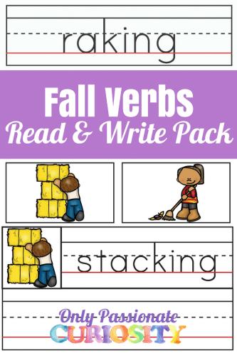 Free Fall Verbs Read & Write Printables