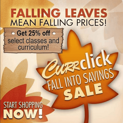 Fall Sale at Currclick: 25% Off Classes & Curriculum