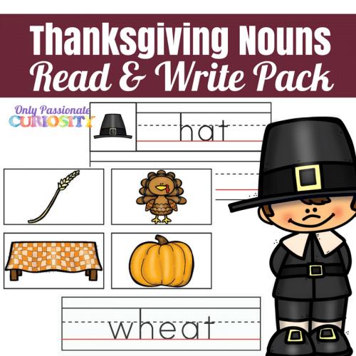 Free Thanksgiving Nouns Read & Write Pack