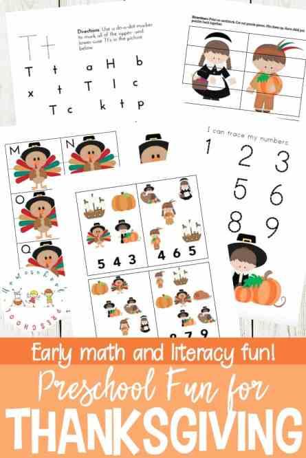Free Thanksgiving Preschool Learning Pack
