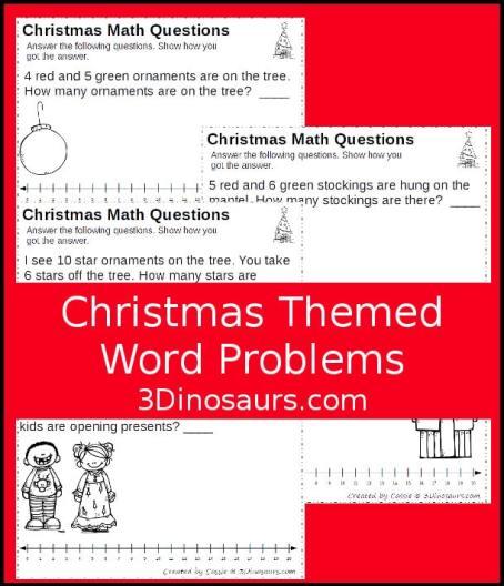 Free Christmas Word Problem Math Worksheets