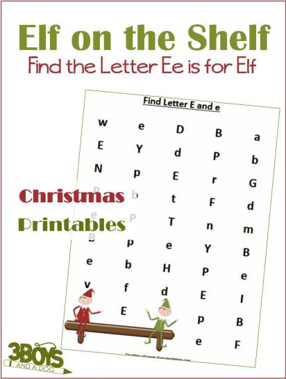 Free E is for Elf Letter Find Worksheets