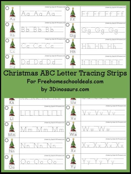FREE CHRISTMAS ABC TRACING STRIPS