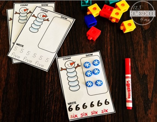 Free Snowman Counting Cards