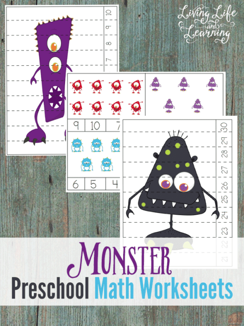 Free Monster Preschool Math Worksheets