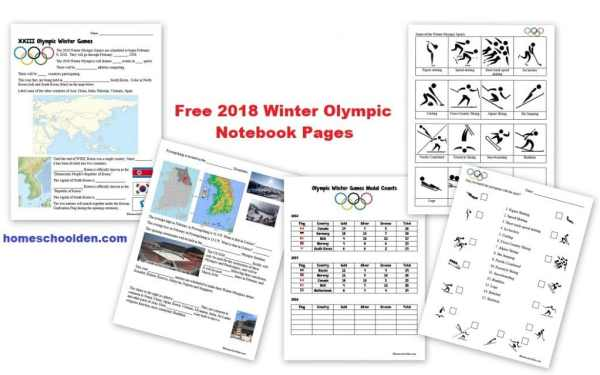 Free Winter Olympics Notebooking Pages