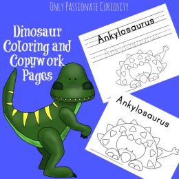 Free Dinosaur Coloring & Copywork Pages