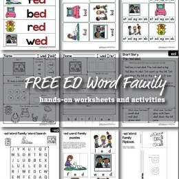 Free ED Word Family Worksheets
