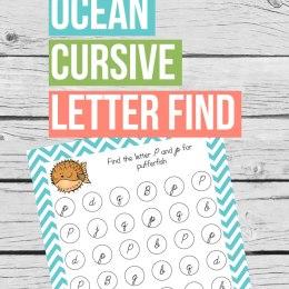 Free Ocean Cursive Letter Find Printable
