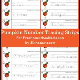 FREE PUMPKIN NUMBER TRACING STRIPS (Instant Download)