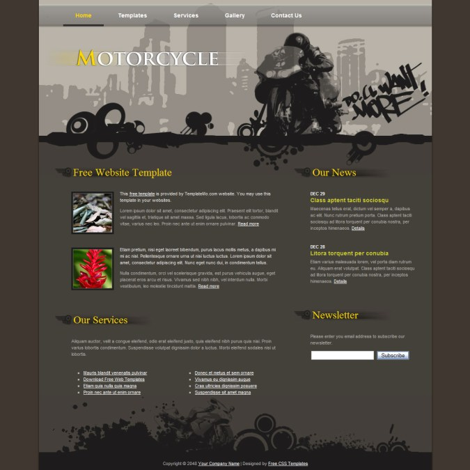 Free html website templates part 5 motorcycle template is built in dark brown color simple and attractive 2 column layout pronofoot35fo Images