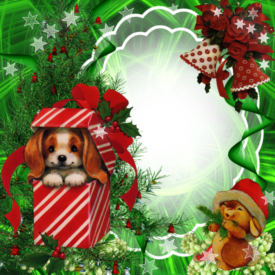 medium resolution of christmas frame with gifts and dog clipart