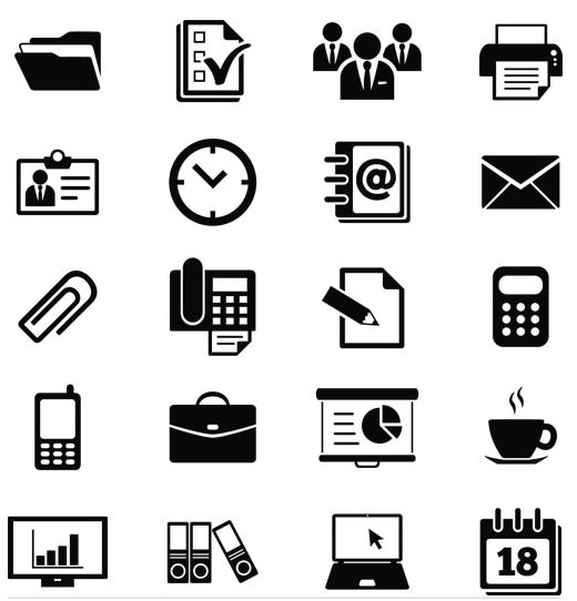 Silhouette Office Icons 2 Business vector free download