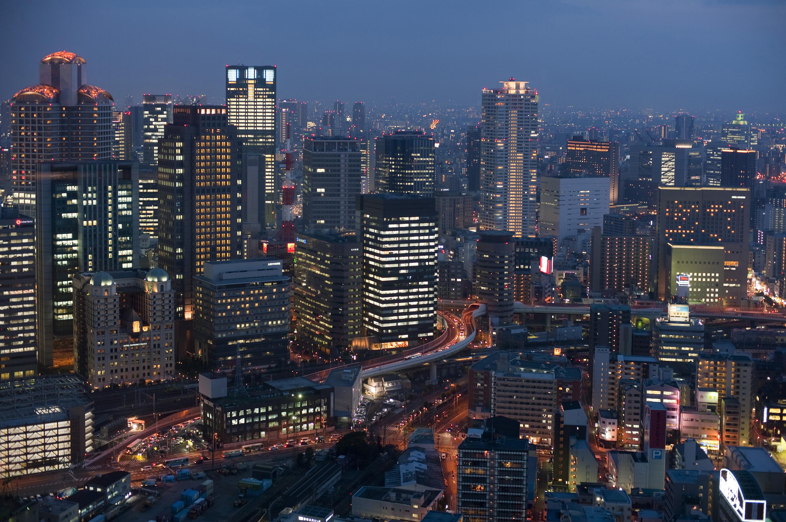 Free Stock Photo 6013 nighttime urban osaka  freeimageslive