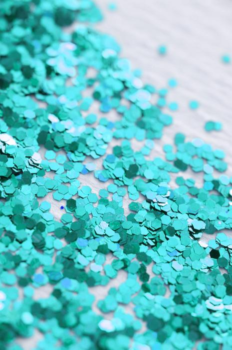 Free Stock Photo: macro image of cyan coloured glitter