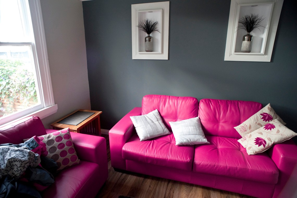 Free Image Of Pink And Grey Living Room