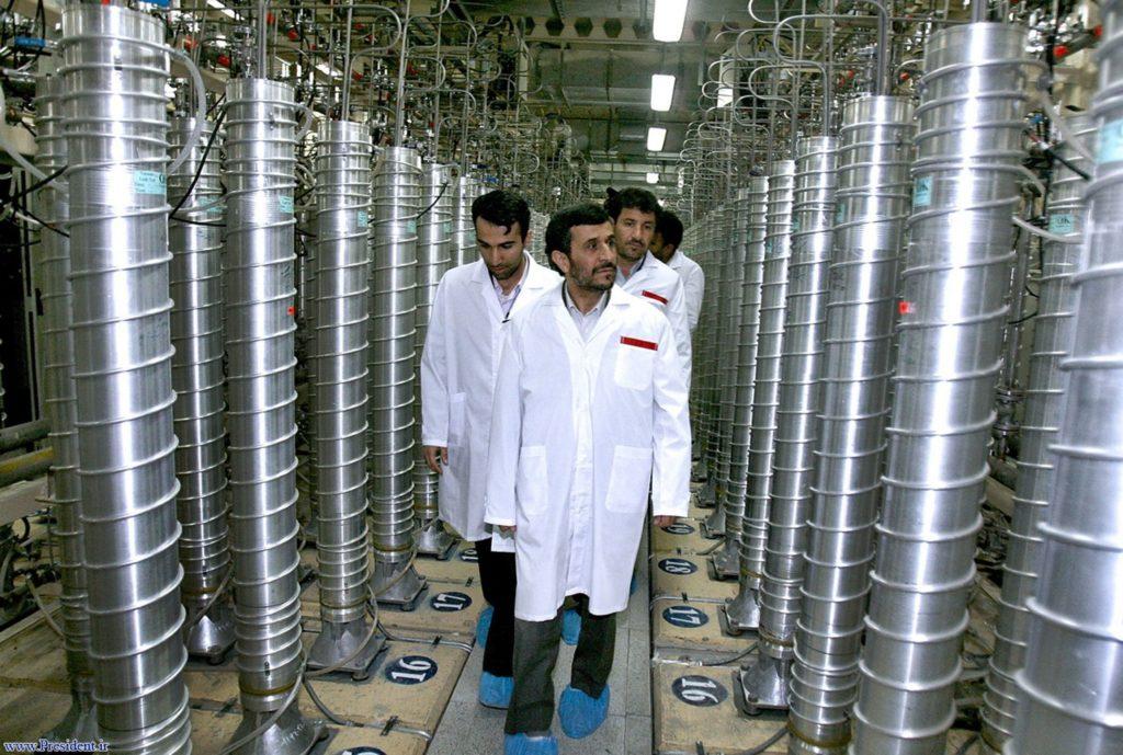 Iranian President Mahmoud Ahmadinejad during a tour of centrifuges at Natanz in 2008