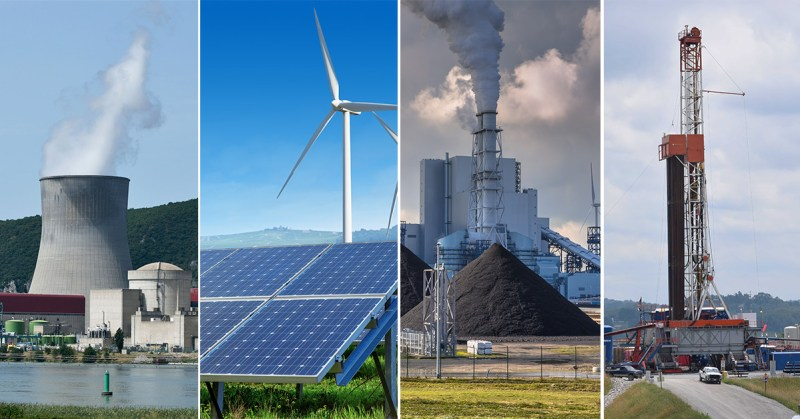 Montage of solar, wind, nuclear, natural gas and coal energy