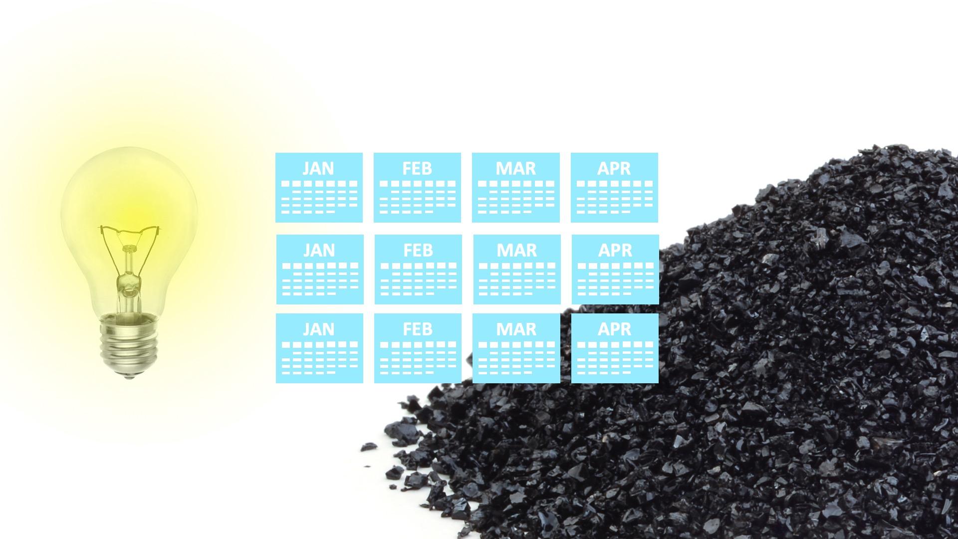 A calendar, a bulb and a pile of coal