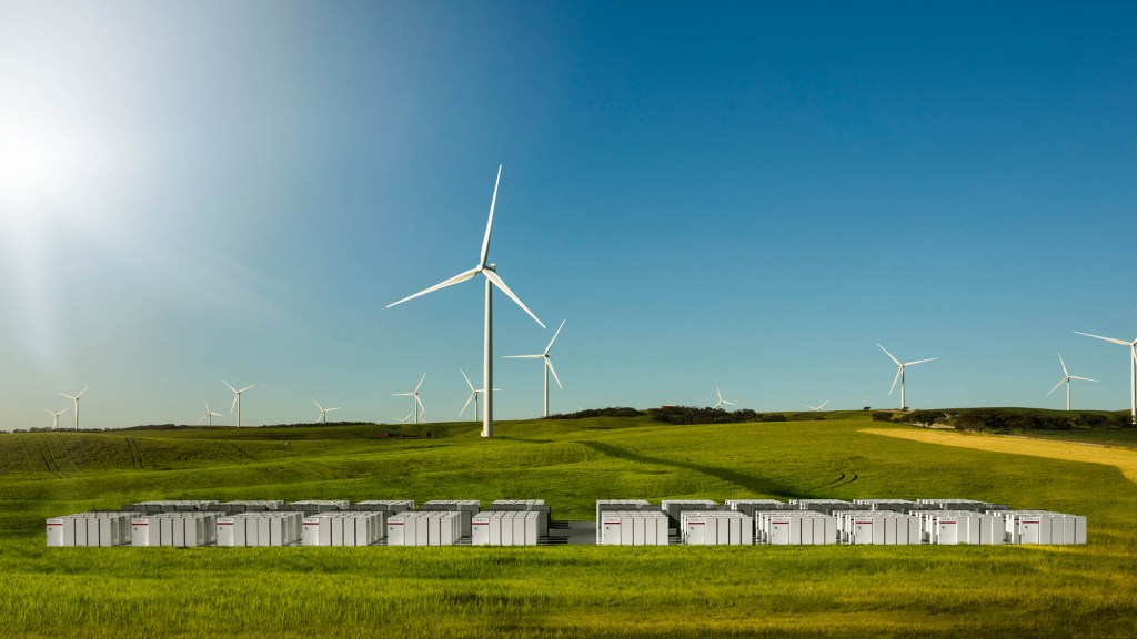 An Australian wind farm outfitted with Tesla batteries for storage.