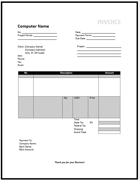 consultant invoice template word