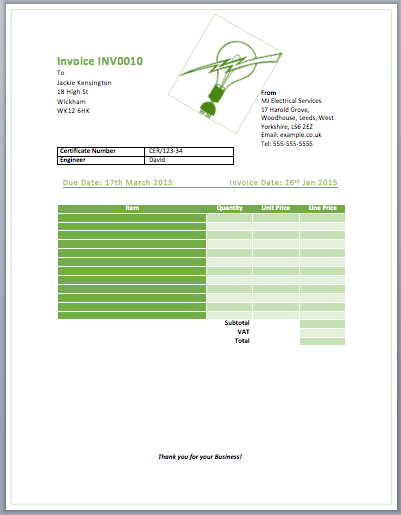 invoice template free excel