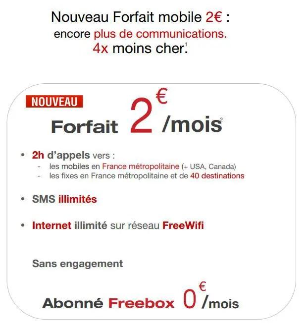 free forfait 2 euros sans engagement