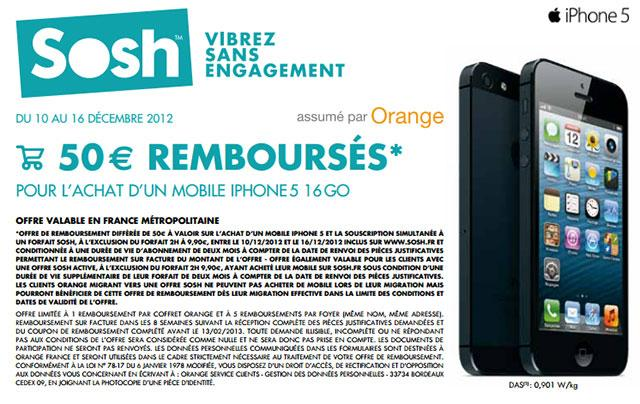 iphone 5 chez sosh 589 euros cette semaine free mobile iphone. Black Bedroom Furniture Sets. Home Design Ideas
