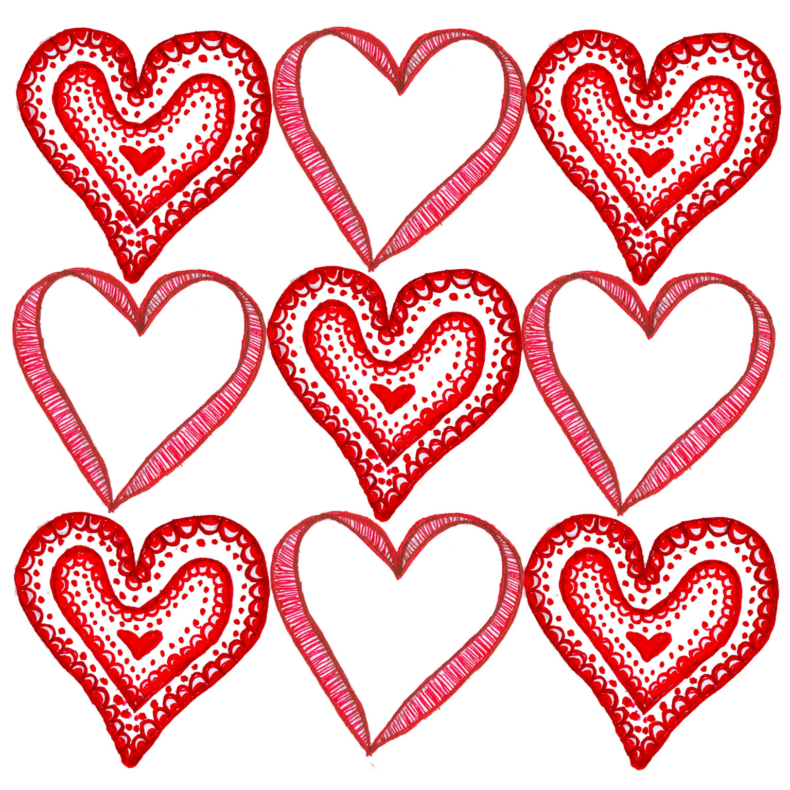 9 Hearts Valentines Day Card Template Free IWork Templates